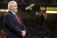 Wales' Head Coach Warren Gatland during the pre match warm up<br /> <br /> Photographer Ian Cook/CameraSport<br /> <br /> Under Armour Series Autumn Internationals - Wales v Tonga - Saturday 17th November 2018 - Principality Stadium - Cardiff<br /> <br /> World Copyright © 2018 CameraSport. All rights reserved. 43 Linden Ave. Countesthorpe. Leicester. England. LE8 5PG - Tel: +44 (0) 116 277 4147 - admin@camerasport.com - www.camerasport.com
