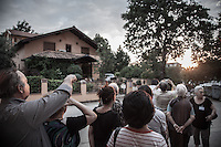 People gazes at the Sun in the late noon trying to spot the so called &quot;spinning sun&quot; miracle. <br /> Bijakovici, Medjugorje, Bosnia and Herzegovina.