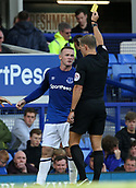 9th September 2017, Goodison Park, Liverpool, England; EPL Premier League Football, Everton versus Tottenham; Wayne Rooney of Everton is shown the yellow card for a foul on Dele Alli of Tottenham