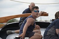 ZEILSPORT: GROU: 04-08-2018, SKS Skûtsjesilen, openingswedstrijd Grou, schipper Willem Zwaga op naar de overwinning met het skûtsje van Leeuwarden, ©foto Martin de Jong