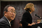 UN Secretary General Ban Ki-Moon and Israel's Foreign Minister Tzipi Livni, during a joint press conference in Tel Aviv, Israel, Thursday January 15, 2009 (Photo by Ahikam Seri).