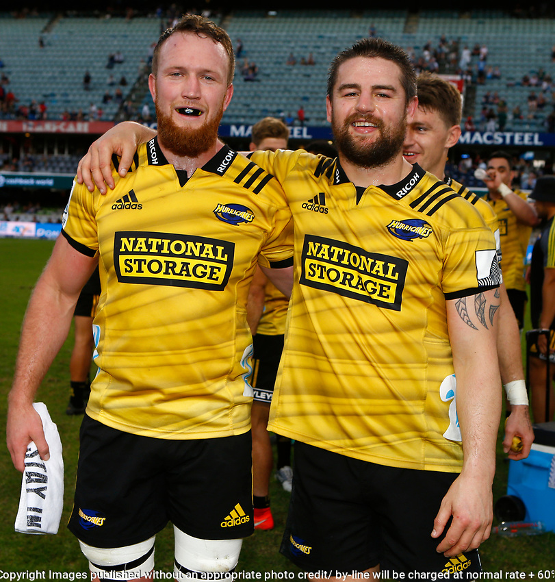 Gareth Evans with Dane Coles of the Hurricanes during the Super Rugby match between Cell C Sharks and Hurricanes at Jonsson Kings Park Stadium in Durban, South Africa on Saturday, 1 June 2019. Photo by Steve Haag / stevehaagsports.com