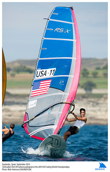 20140912, Santander, Spain: 2014 ISAF SAILING WORLD CHAMPIONSHIPS - More than 1,250 sailors in over 900 boats from 84 nations will compete at the Santander 2014 ISAF Sailing World Championships from 8-21 September 2014. The best sailing talent will be on show and as well as world titles being awarded across ten events 50% of Rio 2016 Olympic Sailing Competition places will be won based on results in Santander. Boat class and Sailor(s): RS:X Men - USA11 - Pedro Pascual. Photo: Mick Anderson/SAILINGPIX.DK.