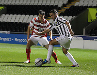 Stephen Hendrie watches Dougie Imrie in the St Mirren v Hamilton Academical Scottish Communities League Cup match played at St Mirren Park, Paisley on 25.9.12.