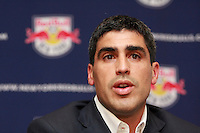 New York Red Bulls captain Claudio Reyna addresses the media during a press conference announcing his retirement from playing professional soccer at St. Benedict's Prep in Newark, New Jersey, on July 16, 2008. Claudio Reyna played two years for the New York Red Bulls after playing 12 years in Europe and earning 112 caps for the US national team. Reyna started his career at St. Benedict's being named Parade Magazine national high school player of the year twice.