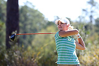 CHAPEL HILL, NC - OCTOBER 11: Haylin Harris of Michigan State University tees off at UNC Finley Golf Course on October 11, 2019 in Chapel Hill, North Carolina.