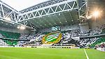 Stockholm 2014-04-14 Fotboll Superettan Hammarby IF - Degerfors IF :  <br /> Hammarby supportrar med ett tifo innan matchen och en stor banderoll f&ouml;rest&auml;llande f&ouml;reningens grundare<br /> (Foto: Kenta J&ouml;nsson) Nyckelord:  HIF Bajen Degerfors  supporter fans publik supporters