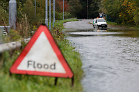 Pictured: The flooded B4242 near Glyn Neath, south Wales, UK. Saturday 13 October 2018<br /> Re: Flooding caused by Storm Callum in the Neath area, south Wales, UK.