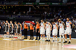 Real Madrid's Felipe Reyes, Luka Doncic, Sergio Llull, Jeffery Taylor and Gustavo Ayon and Brose Bamberg's Nicolo Melli, Leon Radosevic, Patrick Heckmann, Aleksej Nikolic and Nikos Zisis during the minute of silence for the victims of the terrorist attack in Berlin during Turkish Airlines Euroleague between Real Madrid and Brose Bamberg at Wizink Center in Madrid, Spain. December 20, 2016. (ALTERPHOTOS/BorjaB.Hojas)