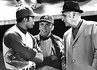 Oakland Athletics: Reggie Jackson, Rick Monday meet with owner Charlie Finley. (1969 photo/Ron Riesterer)
