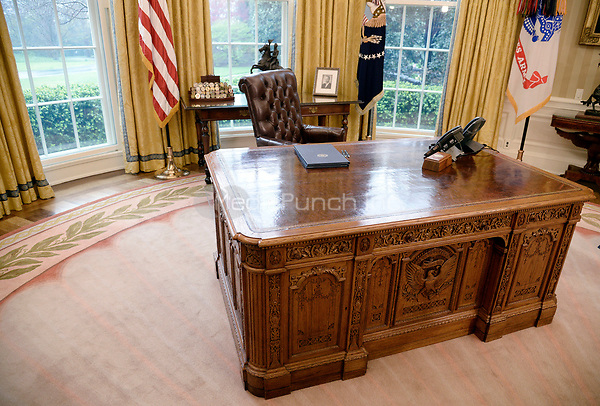 Executive Orders regarding trade lay on the Resolute desk in the Oval Office of the White House March 31, 2017 in Washington, DC.<br /> Credit: Olivier Douliery / Pool via CNP /MediaPunch