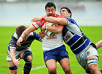 Kalim Kelemete is tackled during the Mitre 10 Heartland Championship rugby union match between Horowhenua Kapiti and Wanganui at Levin Domain in Levin, New Zealand on Saturday, 7 October 2017. Photo: Dave Lintott / lintottphoto.co.nz