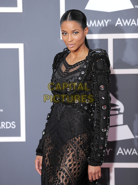 CIARA (Ciara Princess Harris).Arrivals at the 52nd Annual GRAMMY Awards held at The Staples Center in Los Angeles, California, USA..January 31st, 2010.grammys half length black embellished beads beaded dress sheer lace .CAP/RKE/DVS.©DVS/RockinExposures/Capital Pictures