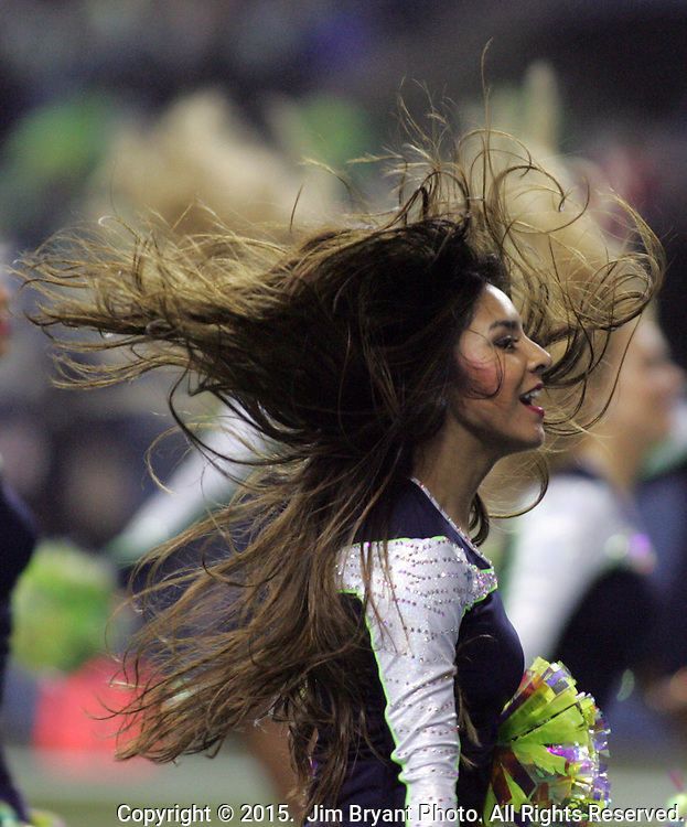 A Seattle Seahawks dance team member, the Seagals, performs against the  Carolina Panthers in the NFC Western Division Playoffs at CenturyLink Field  on January 10, 2015 in Seattle, Washington. The Seahawks beat the Panthers 31-17. ©2015. Jim Bryant Photo. All Rights Reserved.