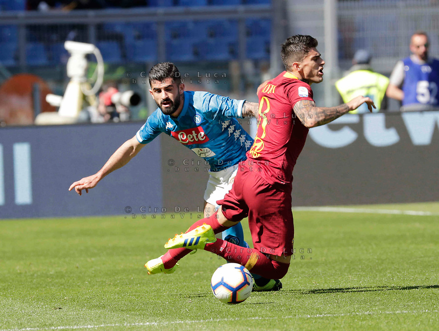 Elseid Hysaj of Napoli  during the  italian serie a soccer match, AS Roma -  SSC Napoli       at  the Stadio Olimpico in Rome  Italy , March 31, 2019