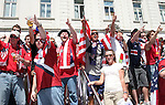12 June 2006: U.S. fans take over a public square near the main train station in Gelsenkirchen before the game. A group of U.S. fans sing songs. The United States played the Czech Republic at Veltins Arena in Gelsenkirchen, Germany in match 10, a Group E first round game, of the 2006 FIFA World Cup.