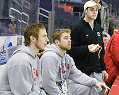 Vinny Saponari (BU - 27), David Warsofsky (BU - 5), Colby Cohen (BU - 25) (Higgins) - The D1 and DIII seniors taking part in the Skills Challenge practiced on Friday, April 10, 2009, during the 2009 Frozen Four at the Verizon Center in Washington, DC.