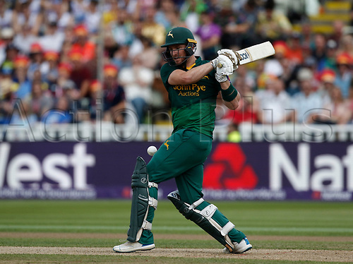2nd September 2017, Edgbaston, Birmingham, England; Natwest T20 Blast Finals Day, Notts Outlaws versus Hampshire; Riki Wessels of Notts Outlaws pulls to the onside boundary