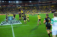Chiefs captain Michael Allardice takes lineout ball during the Super Rugby match between the Hurricanes and Chiefs at Westpac Stadium in Wellington, New Zealand on Friday, 27 April 2019. Photo: Dave Lintott / lintottphoto.co.nz