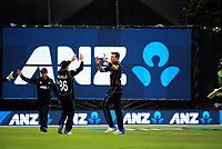 Tim Southee celebrates a wicket during the One Day International cricket match between the NZ Black Caps and Pakistan at the Basin Reserve in Wellington, New Zealand on Saturday, 6 January 2018. Photo: Dave Lintott / lintottphoto.co.nz