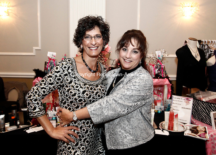 Waterbury, CT- 14 November 2014-111414CM16- Social moments---  Left to right, Ann Marie Ganem and Tina Sierra with Mary Kay skin care and cosmetics,  photographed during Ladies Night Out, a benefit for Easter Seals at La Bella Vista, Pontelandolfo Club in Waterbury on Friday night.    Christopher Massa Republican-American
