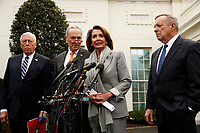 House Speaker Nancy Pelosi, Senate Minority Leader Chuck Schumer, Sen. Dick Durbin, and Rep. Steny Hoyer,  brief reporters following their meeting with the president on the government shutdown, at the White House, in Washington, D.C., 1-9-19. Photo Credit: Martin H. Simon/CNP/AdMedia