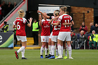 Danielle van de Donk of Arsenal Women is congratulated after scoring the second goal during Arsenal Women vs Birmingham City Ladies, FA Women's Super League Football at Meadow Park on 4th November 2018