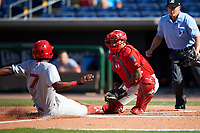 Clearwater Threshers catcher Deivi Grullon (13) receives a throw to the plate during the first game of a doubleheader against the Palm Beach Cardinals on April 13, 2017 at Spectrum Field in Clearwater, Florida.  Clearwater defeated Palm Beach 1-0.  (Mike Janes/Four Seam Images)