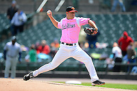 Rochester Red Wings pitcher P.J. Walters #25 during a game against the Columbus Clippers on May 12, 2013 at Frontier Field in Rochester, New York.  Rochester defeated Columbus 5-4 wearing special pink jerseys for Mother's Day.  (Mike Janes/Four Seam Images)