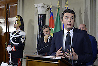Roma, 21 Febbraio 2014<br /> Quirinale<br /> Matteo Renzi nuovo Premier presenta alla stampa la lista dei Ministri