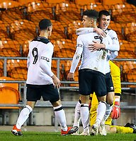 Derby County's Kornell McDonald (7) celebrates scoring the opening goal with teamates<br /> <br /> Photographer Alex Dodd/CameraSport<br /> <br /> The FA Youth Cup Third Round - Blackpool U18 v Derby County U18 - Tuesday 4th December 2018 - Bloomfield Road - Blackpool<br />  <br /> World Copyright © 2018 CameraSport. All rights reserved. 43 Linden Ave. Countesthorpe. Leicester. England. LE8 5PG - Tel: +44 (0) 116 277 4147 - admin@camerasport.com - www.camerasport.com