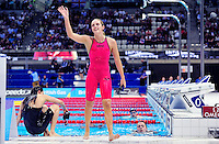 PICTURE BY Simon Wilkinson/SWPIX.COM - Swimming - British Swimming Championships 2012 (Olympic Selection Trials) - Aquatics Centre, Olympic Park, London, England - 08/03/2012 - Finals..Francesca Halsall celebrates her win in her new Arena swimsuit