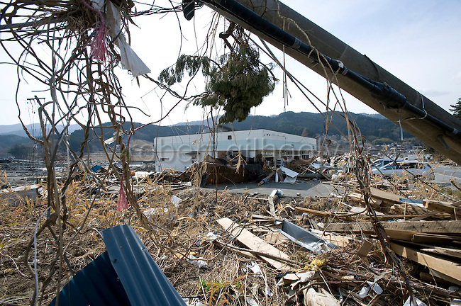 Photo shows the building inside which fisherman Kenichiro Yagi plans to operate his business in Ofunato, Iwate Prefecture, Japan on 07 April, 2011. Yagi plans to open up an online marine products venture in the quake and tsunami-stricken city..Photographer: Robert Gilhooly