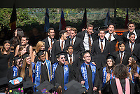 The Glee Club performs at Occidental College Commencement on Sunday, May 18, 2014 at the Remsen Bird Hillside Theater. (Photo by Marc Campos, Occidental College Photographer)