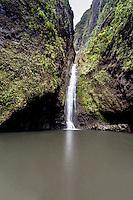 Sacred Falls waterfall in Hau'ula, O'ahu