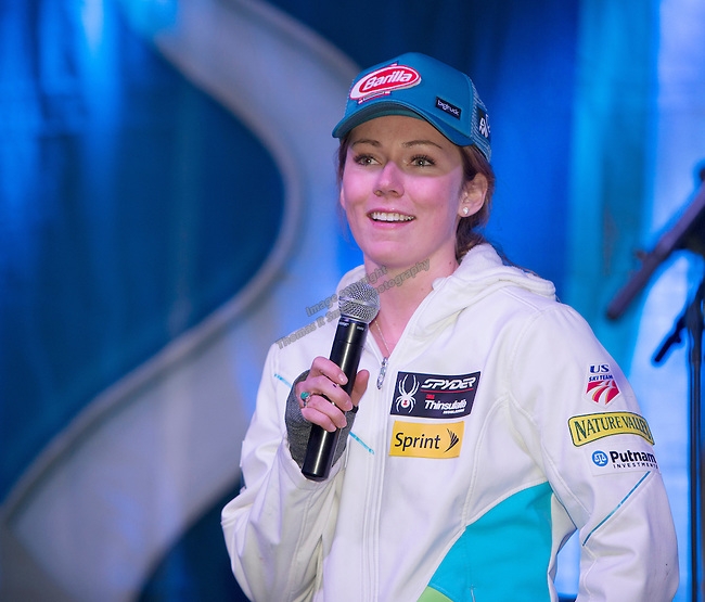 Mikaela Shiffrin speaks during the Olympic Homecoming Celebration at Squaw Valley on Friday night, March 21, 2014.