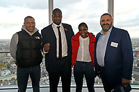 Martin Bowers (L), Daniel Dubois, Caroline Dubois and Tony Bowers during a Press Conference at the BT Tower on 11th November 2019
