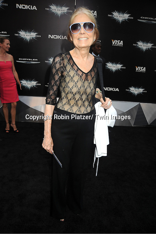 "Gloria Steinem attends the world premiere of ""The Dark Knight Rises"" on .July 16, 2012 at The AMC Lincoln Square Imax Theatre in New York City. The movie stars Christian Bale, Gary Oldman, Anne Hathaway, Tom Hardy, Marion Cotillard, Joseph Gordon-Levitt and Morgan Freeman."