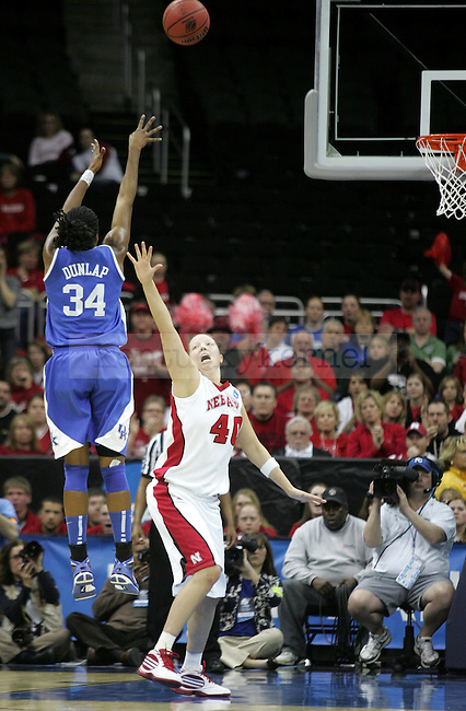 Junior forward Victoria Dunlap shoots two-points for Kentucky during the first half of their game against No. 1 Nebraska on Sunday, March 28, 2010 at the Women's Sweet 16 Tournament in Kansas City, Mo. The Cats defeated the Husker 76-67, moving them to the Elite 8 for the time in Kentucky history. Photo by Allie Garza | Staff