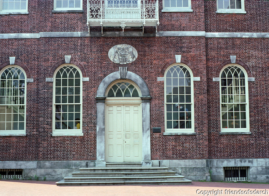 Philadelphia: Congress Hall--windows. Federal style: see PHILADELPHIA ARCHITECTURE, p. 30.  Photo '88.