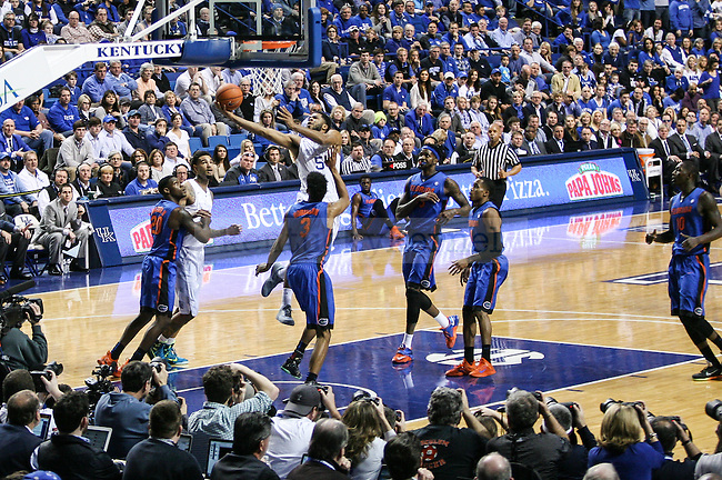 Kentucky guard Andrew Harrison goes for a layup during the first half of the Kentucky vs. Florida game at Rupp Arena in Lexington, Ky.,on Saturday, March 7, 2015. UK defeated Florida 67-50, completing a perfect regular season. Photo by Adam Pennavaria | Staff