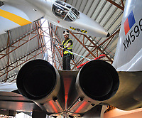BNPS.co.uk (01202 558833)<br /> Pic: RAFMuseumCosford/BNPS<br /> <br /> Massive engines of the AVRO Vulcan.<br /> <br /> Prop Dusting - The annual spring clean of the stunning aircraft hall at the RAF Museum at Cosford has begun.<br /> <br /> A crack team of aerial cleaners are abseiling over the historic aircraft, some of which are suspended up to a hundred feet above the museum floor, all week to clean away any residue dust and check over the suspension cables.