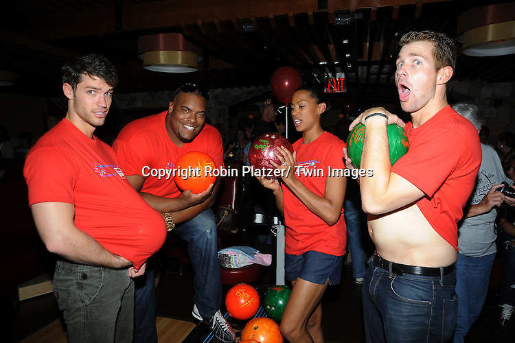 One Life to Live group shot, David Gregory, Sean Ringgold, Kearran Giovanni and Josh Kelly pose at the Daytime Stars and Strikes Charity Bowling Event benefitting the American Cancer Society on .October 9, 2011 at Bowlmor Lanes in Times Square.