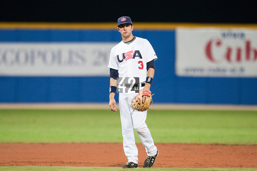 24 September 2009: Trevor Plouffe of Team USA is seen on defense during the 2009 Baseball World Cup final round match won 5-3 by Team USA over Cuba, in Nettuno, Italy.