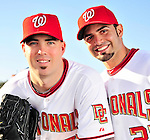 28 February 2010: Washington Nationals relief pitcher Jason Bergmann and catcher Wil Nieves pose for a Spring Training photo at Space Coast Stadium in Viera, Florida. Mandatory Credit: Ed Wolfstein Photo