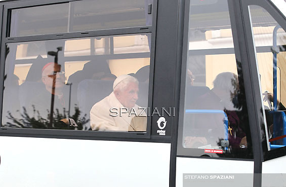"""Pope Benedict XVI, Vatican's State Secretary Cardinal Tarcisio bertone  arrive in a bus at Santa Maria degli Angeli's basilica (St Mary of the Angels) to attend the interreligious talks on October 27, 2011. Pope Benedict XVI will lead during the day the 25th Interreligious talks, a """"journey of reflection, dialogue and prayer for peace and justice in the world"""" held in St. Francis of Assisi's birthplace,"""