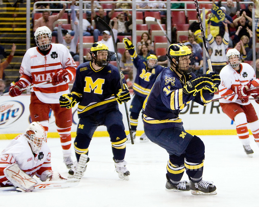 3/20/2010 Michigan defeats Miami (OH) in semi-finals of the CCHA Championship at Joe Louis Arena.