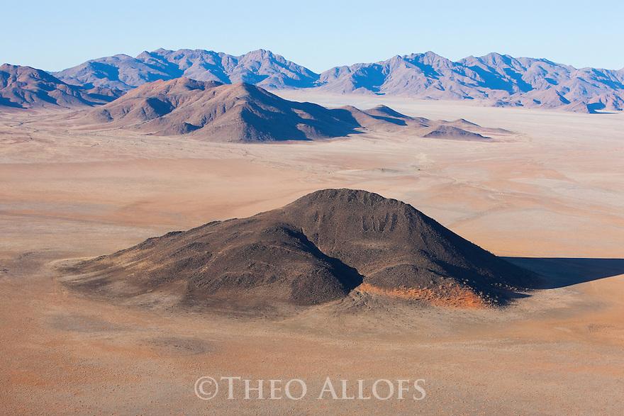 Namibia, Namib Desert, Namibrand Nature Reserve, aerial of Inselberg in  Namib Desert