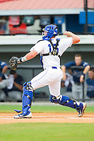 Burlington Royals catcher Chad Johnson (15) throws the ball to second base between innings of the Appalachian League game against the Princeton Rays at Burlington Athletic Park on July 5, 2013 in Burlington, North Carolina.  The Royals defeated the Rays 5-1 in game one of a doubleheader.  (Brian Westerholt/Four Seam Images)