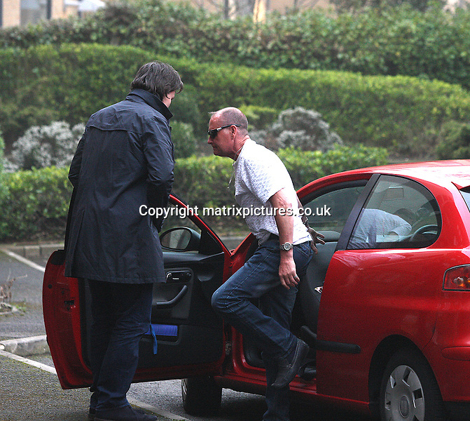 NON EXCLUSIVE PICTURE: TREVOR ADAMS / MATRIXPICTURES.CO.UK.PLEASE CREDIT ALL USES..WORLD RIGHTS..Retired England international footballer Paul Gascoigne is pictured arriving home to his apartment in Bournemouth following his latest stint in rehab today...The former mid-fielder recently made headlines once again as he publicly struggled to control his alcohol addiction...It was reported that he had been drinking two litres of gin and 15 cans of Stella Artois a day, as well as injecting cocaine...MARCH 9th 2013..REF: MTX 131572